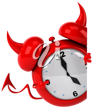 Royalty Free Clipart Image of a Devil Alarm Clock Peering Around a Wall