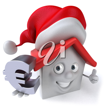Royalty Free Clipart Image of a House in a Santa Hat Holding a Euro Sign