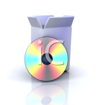 Royalty Free Clipart Image of a Box and CD