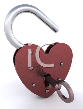 Royalty Free Clipart Image of a Heart Shaped Padlock