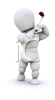 Royalty Free Clipart Image of a Golfer Driving a Ball From the Tee