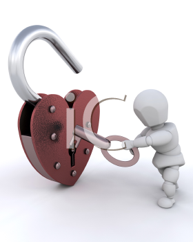 Royalty Free Clipart Image of a Person Unlocking a Heart Shaped Padlock