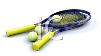 Royalty Free Clipart Image of a Tennis Racket and Balls