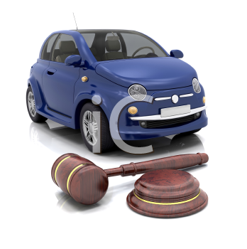 Royalty Free Clipart Image of a Gavel in Front of a Car