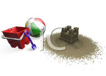 Royalty Free Clipart Image of Sand Toys and a Sandcastle