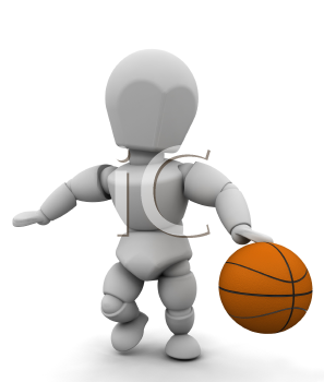 Royalty Free Clipart Image of a Basketball Player Dribbling the Ball