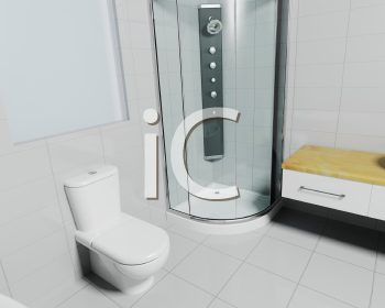 Royalty Free Clipart Image of a Bathroom