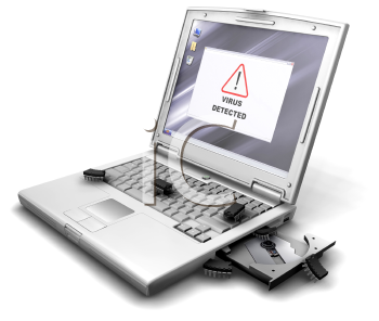 Royalty Free Clipart Image of a Computer Screen Showing Virus Detected