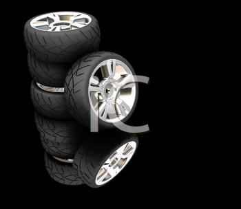 Royalty Free Clipart Image of a Car Tires