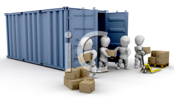Royalty Free Clipart Image of People Unloading a Cargo Carrier