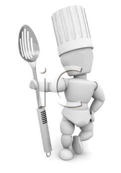 Royalty Free Clipart Image of a Chef With a Metal Spoon