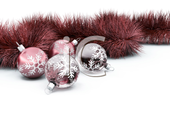 Royalty Free Clipart Image of Ornaments and Tinsel