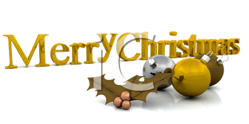 Royalty Free Clipart Image of a Merry Christmas Message With Ornaments and Holly