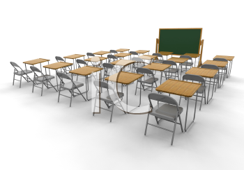 Royalty Free 3D Clipart Image of an Empty Classroom