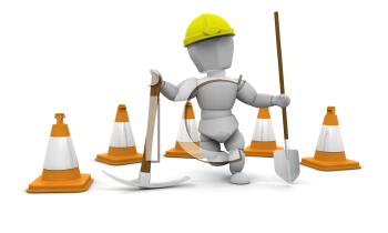 Royalty Free Clipart Image of a Worker With Pylons, a Pickax and Shovel