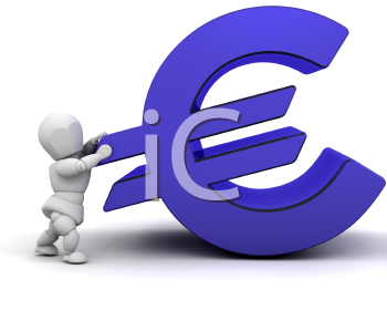 Royalty Free Clipart Image of a 3D Guy With a Euro Sign