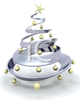 Royalty Free Clipart Image of a Metallic Christmas Tree