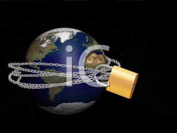 Royalty Free Clipart Image of a Globe With a Padlock Around It