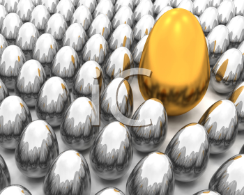 Royalty Free Clipart Image of a One Golden Egg Among Silver