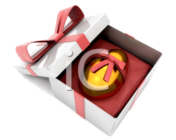 Royalty Free Clipart Image of a Golden Egg in a Wrapped Box