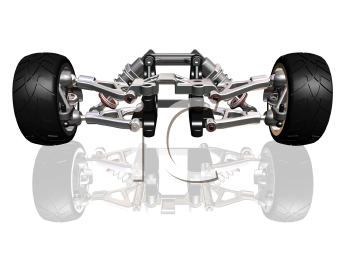 Royalty Free Clipart Image of a Wheels and Suspension