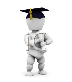 Royalty Free Clipart Image of a Graduate Holding a Diploma