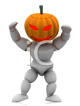 Royalty Free Clipart Image of a 3D Figure Wearing a Pumpkin Head