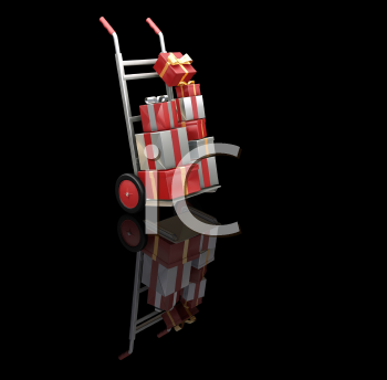 Royalty Free Clipart Image of a Dolly Full of Presents