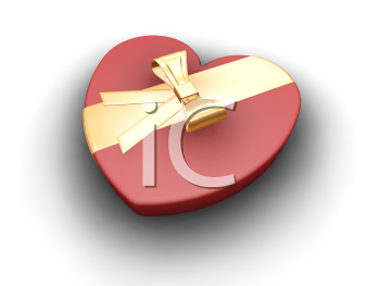 Royalty Free Clipart Image of a Heart Shaped Box