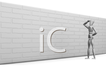 Royalty Free Clipart Image of a Guy Looking at a Wall