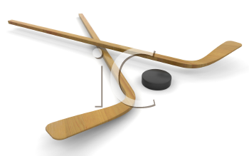 Royalty Free Clipart Image of a Hockey Sticks and a Puch