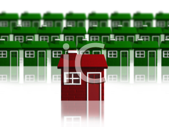 Royalty Free Clipart Image of a Red House in Front of Green Houses