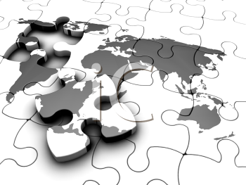 Royalty Free Clipart Image of a World Puzzle With a Piece Out