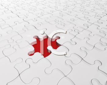 Royalty Free Clipart Image of a Jigsaw Puzzle With a Missing Piece