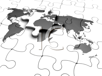 Royalty Free Clipart Image of a Jigsaw Puzzle of a Map