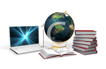 Royalty Free Clipart Image of a 3D Laptop, Globe and Books