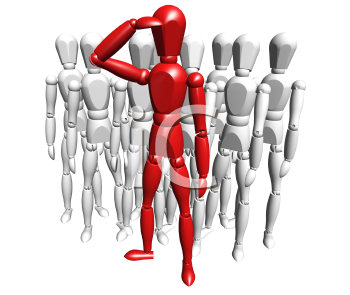 Royalty Free Clipart Image of a Red Person Leading a Group