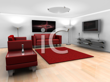 Royalty Free Clipart Image of a Living Room