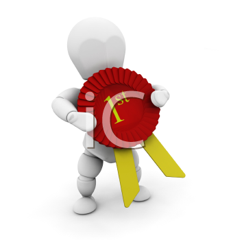 Royalty Free Clipart Image of a 3D Person Holding a First Place Ribbon