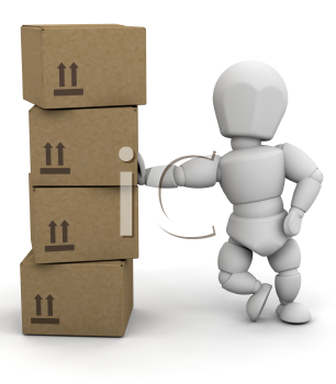 Royalty Free Clipart Image of a 3D Person Leaning on Boxes