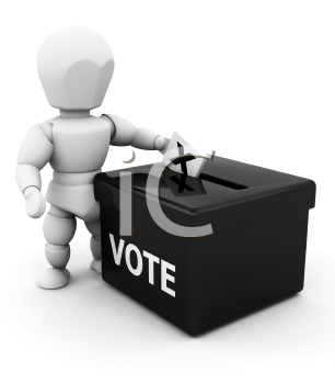 Royalty Free Clipart Image of a 3D Person Voting