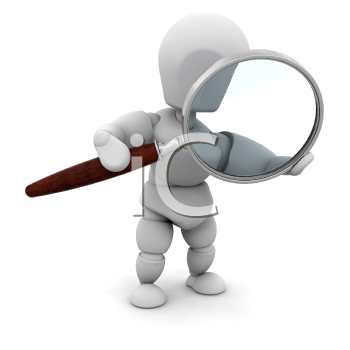 Royalty Free Clipart Image of a 3D Person With a Magnifying Glass