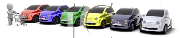 Royalty Free Clipart Image of a Men With a Shopping Cart By a Row of Cars