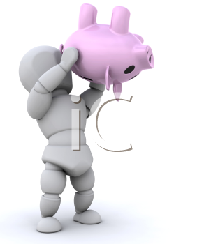 Royalty Free Clipart Image of a Person Shaking a Piggy Bank