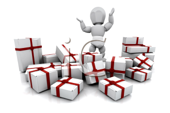 Royalty Free Clipart Image of a Person With a Stack of Presents