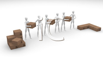 Royalty Free Clipart Image of a Group of People Working Together to Pile Boxes