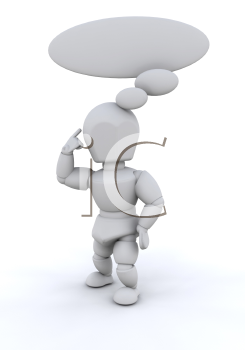 Royalty Free Clipart Image of a Person With a Bubble Thought