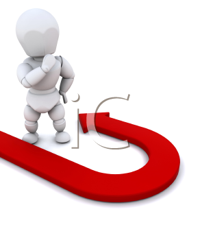 Royalty Free Clipart Image of a Person Standing at a U-Turn Arrow