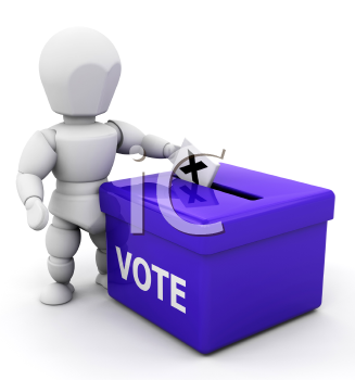 Royalty Free Clipart Image of a Person Voting