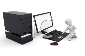 Royalty Free Clipart Image of a Person on a Computer